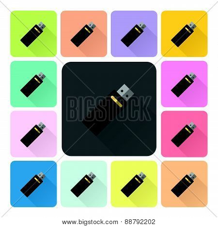 Flash Drive Icon Color Set Vector Illustration