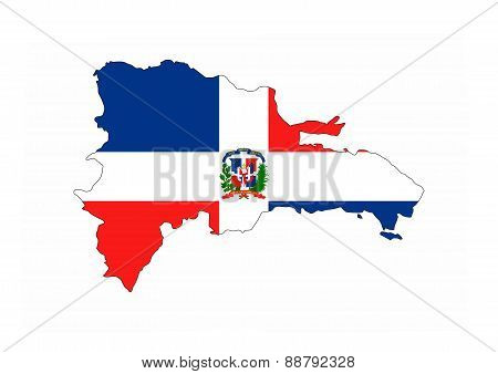 Dominican Republic Flag Map