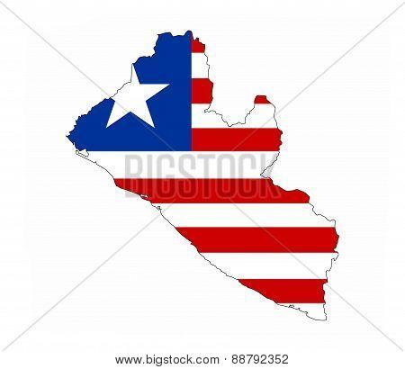 Liberia Flag Map