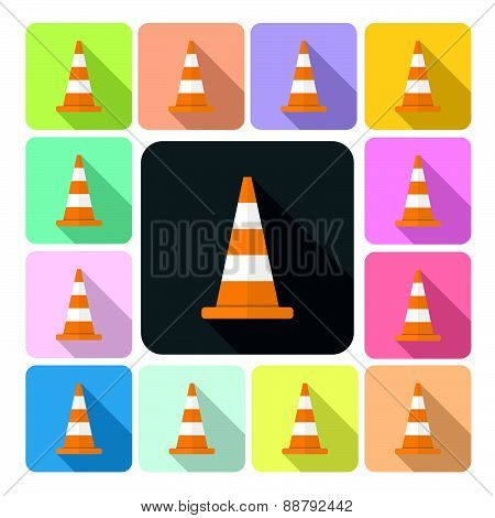 Traffic Cone Icon Color Set Vector Illustration