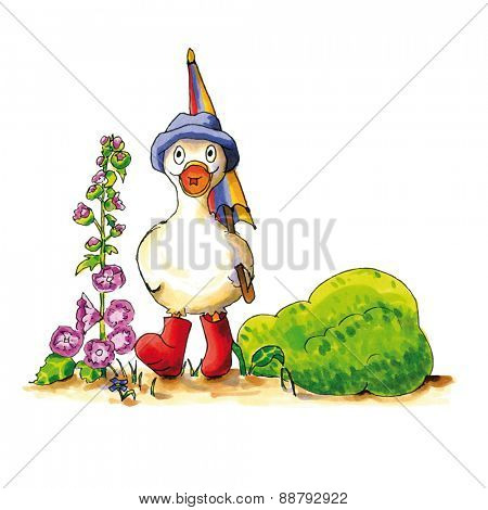 Childish funny duck illustration with boots and umbrella