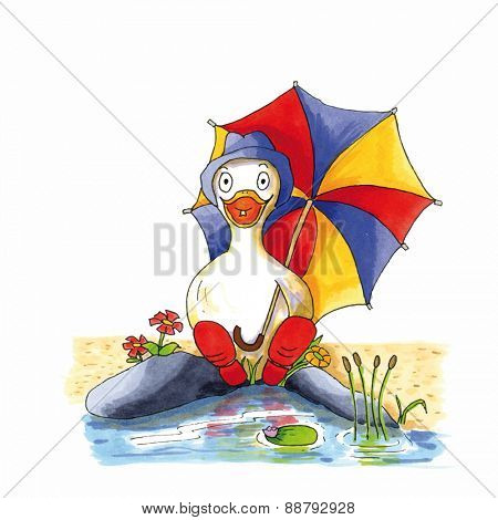 Childish funny duck illustration sitting near lake with boots and umbrella