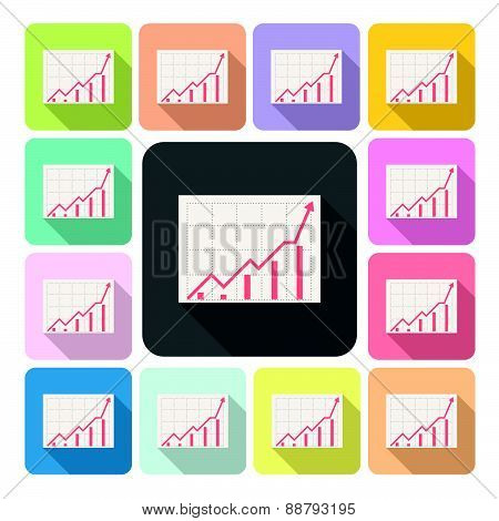 Growing Graph Icon Color Set Vector Illustration