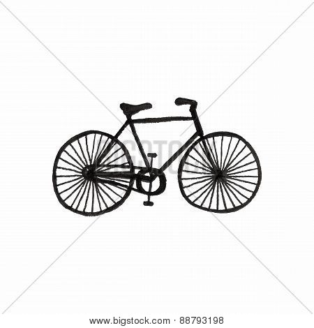 Bycicle. Doodle bike on the white background. Sport, recreation, vintage style. Vector illustration.