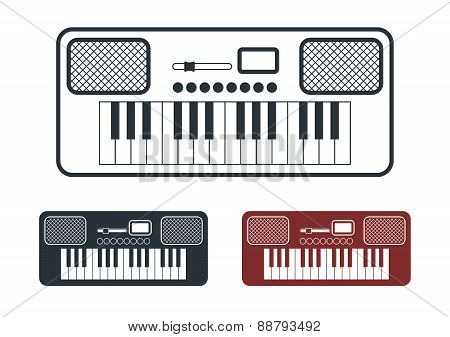 Synthesizer Icons Set, Vector Illustration