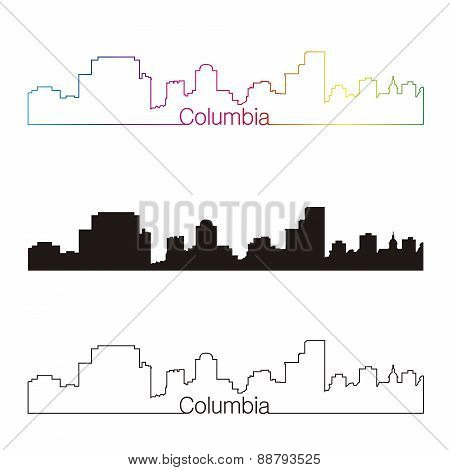 Columbia Skyline Linear Style With Rainbow