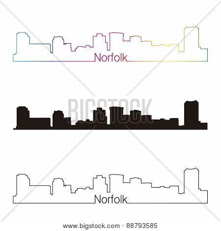 Norfolk Skyline Linear Style With Rainbow