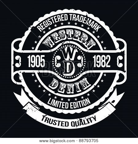 Western Denim T-shirt Typography, Vector Illustration