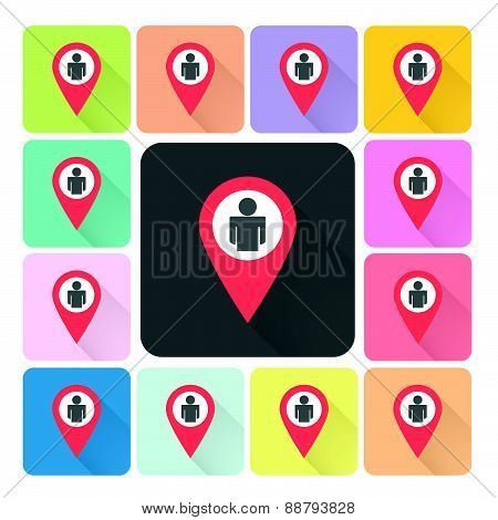 Location People Icon Color Set Vector Illustration