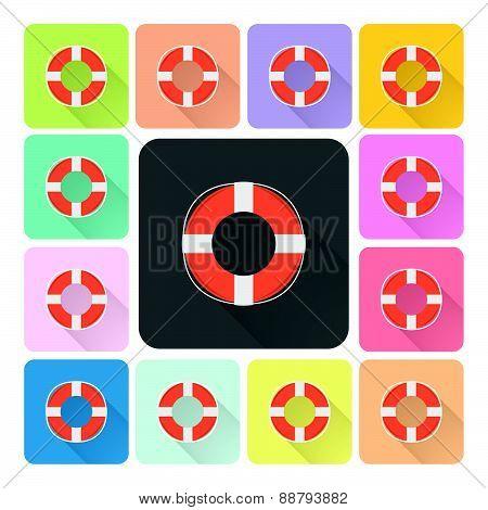Lifebuoy Icon Color Set Vector Illustration