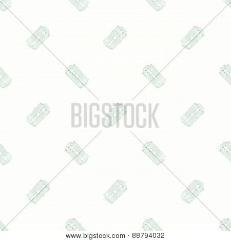 Razor Seamless watercolor pattern with stainless razor on a white background