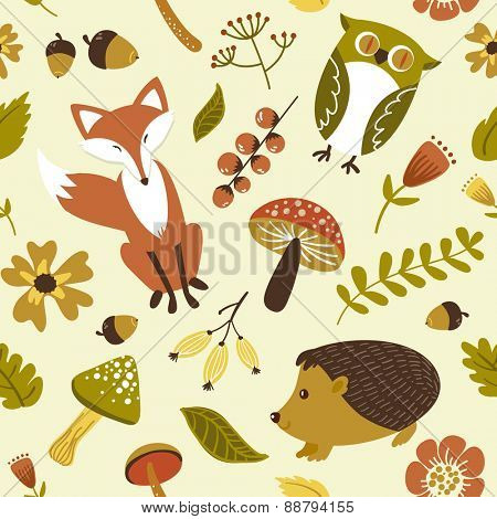 forest, woodland animals,leaves and flowers seamless pattern
