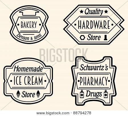 Set Of Vintage Badge Or Logo Design Elements, Vector Illustratio