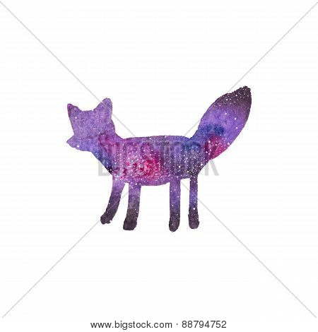 Watercolor galaxy fox on the white background, aquarelle. Vector illustration.
