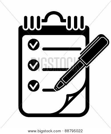 To Do List Clipboard Pen Icon, Vector Illustration