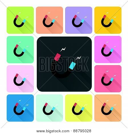 Magnet Icon Color Set Vector Illustration