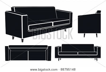 Modern Sofa Couch, Different Views, Vector Illustration.