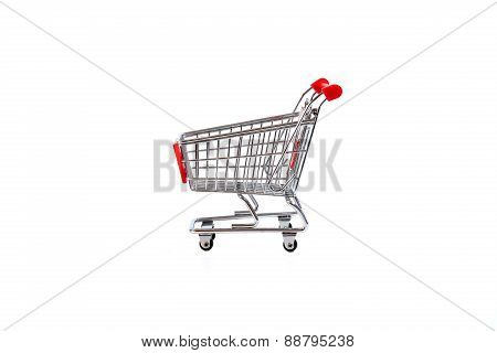 Red Shopping Cart on White Background