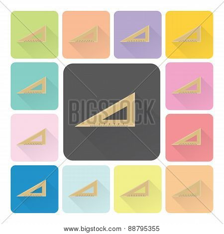 Triangle Ruler Icon Color Set Vector Illustration