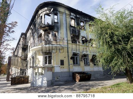 Mariupol, Ukraine - October 11, 2014: A The Building Of The Police Department After The Assault. Acc