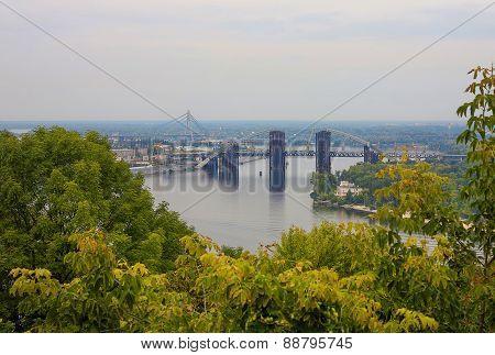 Bridge On Dnieper River In Kiev, Ukraine