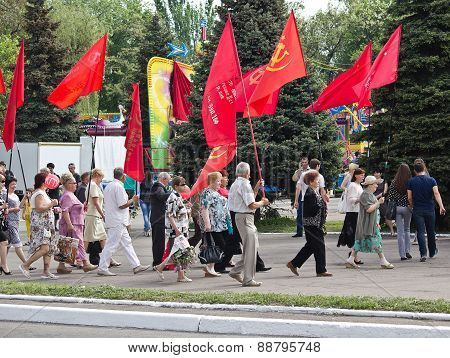 Makeevka, Ukraine - May, 9, 2012: Proponents Of Communist Ideology In A Parade To Celebrate The Anni