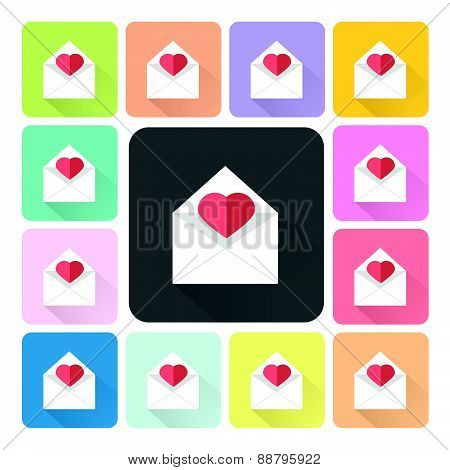 Mail With Heart Icon Color Set Vector Illustration