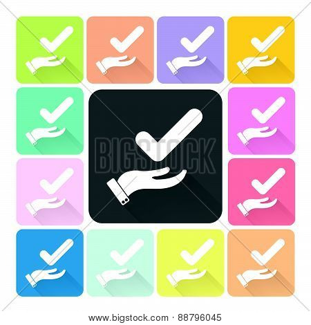 Hand With Check Icon Color Set Vector Illustration