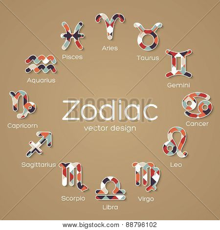 Multicolored Mosaic Zodiac Symbol Icons