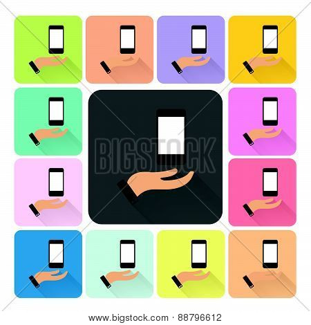 Hand Cover Phone Icon Color Set Vector Illustration