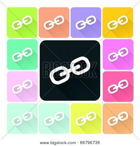 Link Icon Color Set Vector Illustration