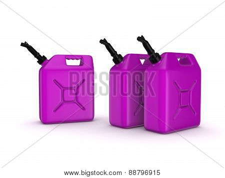 Colorful gasoline jerrycans.
