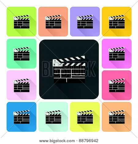 Clapboard Icon Color Set Vector Illustration