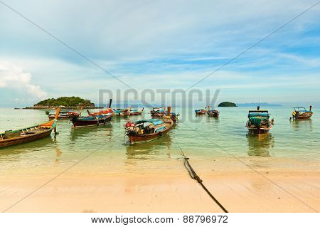 Traditional thai boats on the beach