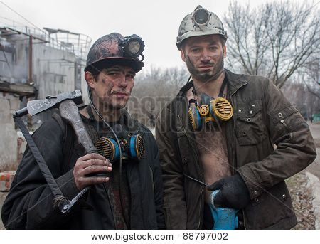 Gorlovka, Ukraine - February, 26, 2014: Miners Mine Named Kalinin After Work Shift