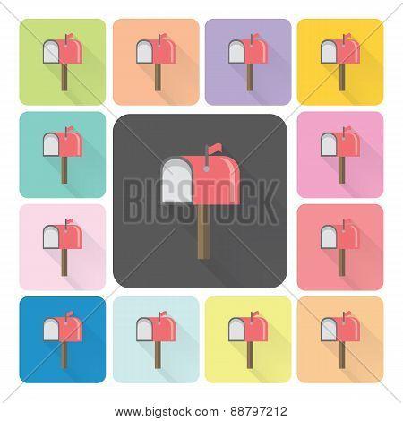 Mailbox Icon Color Set Vector Illustration
