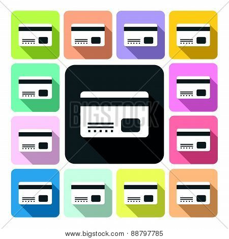 Credit Card Icon Color Set Vector Illustration.