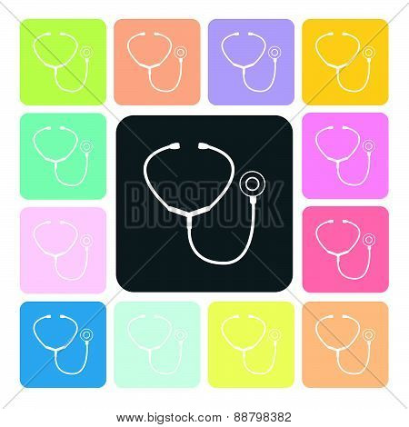 Stethoscope Icon Color Set Vector Illustration.