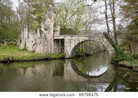 Springtime Is Coming, River And Little Bridge Serene Landscape