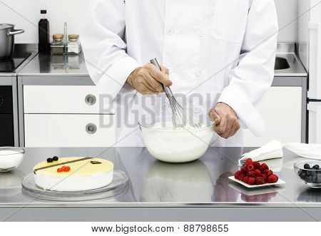 Chef Preparing Whipped Cream