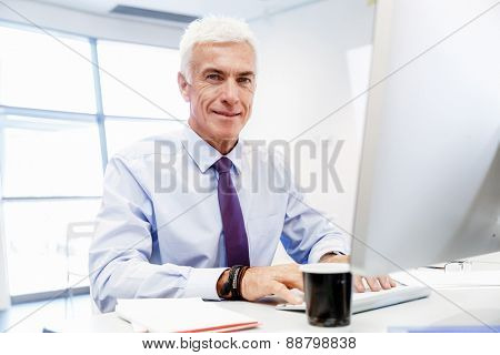 Businessman sitting in office working with computer