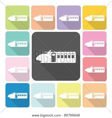 Train Icon Color Set Vector Illustration