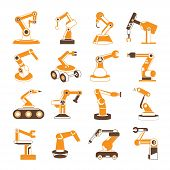 image of robotics  - set of 16 robotic hand icons - JPG