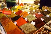 image of spice  - Spices are displayed in Spice Bazaar Istanbul Turkey - JPG