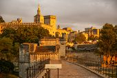 picture of avignon  - Image of a town at sunset Avignon France