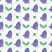 foto of harebell  - Seamless watercolor pattern with bluebells on the white background - JPG