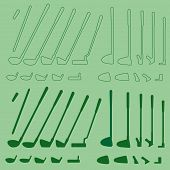 picture of designated driver  - Golf sport items linear and silhouette set - JPG