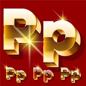 picture of letter p  - Vector set of deluxe sparkling  gold font - JPG