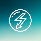 stock photo of lightning  - bubble with lightning arrow icon thin line for web and mobile - JPG