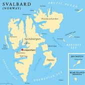 pic of political map  - Svalbard Political Map with capital Longyearbyen - JPG